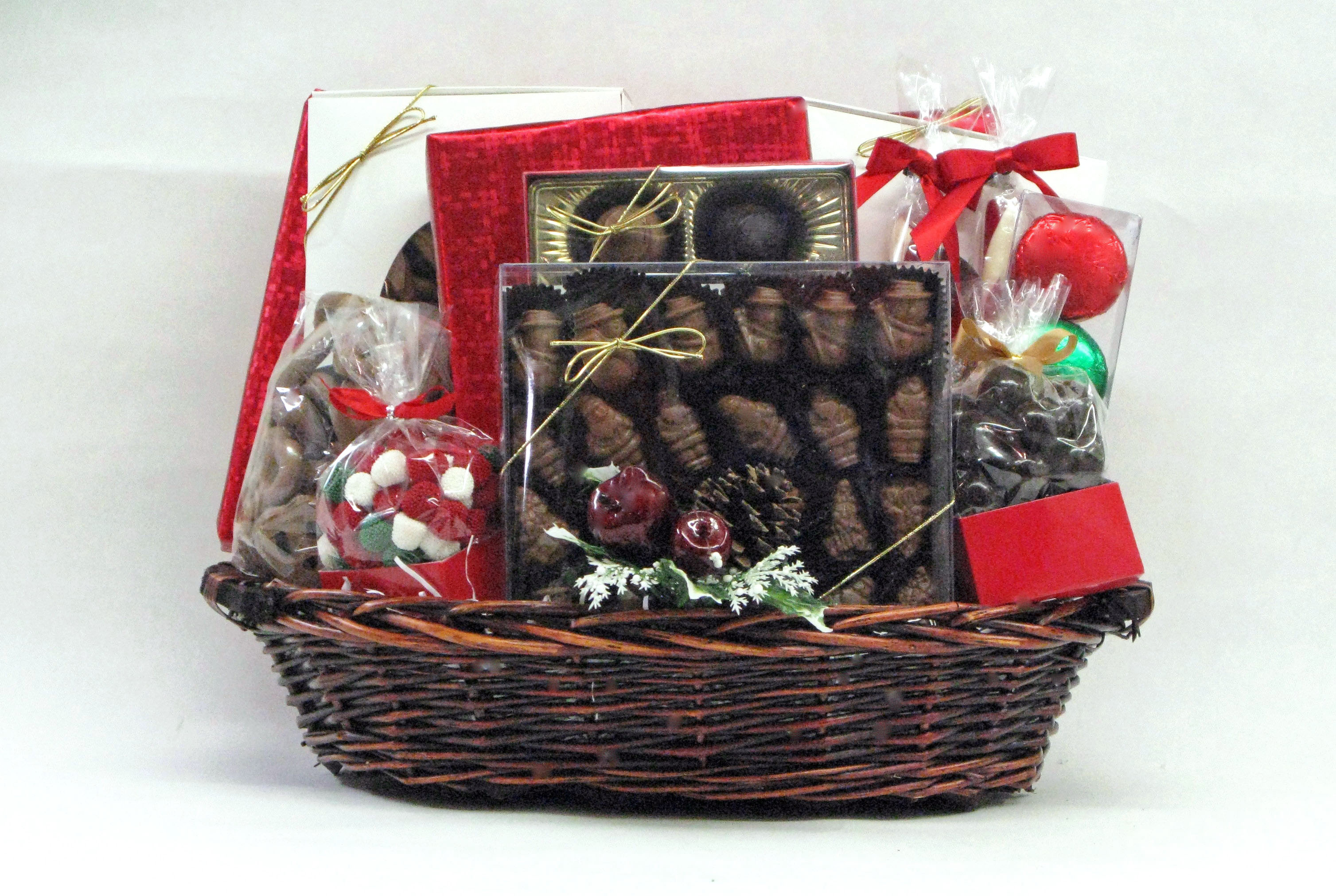 Large Wicker Holiday Basket Lee Sims Chocolates